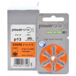 Батарейки для слуховых аппаратов 13 Power One