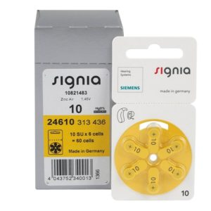 Батарейки для слуховых аппаратов тип 10 Siemens